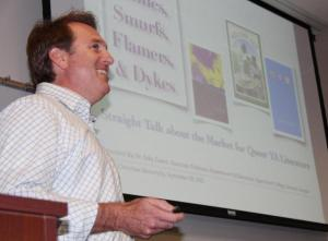 """Dr. Toby Emert gives a lecture, """"Aunties, Smurfs, Flamers, & Dykes: Straight Talk about the Market for Queer YA Literature,"""" Texas Christian University, September 2012"""